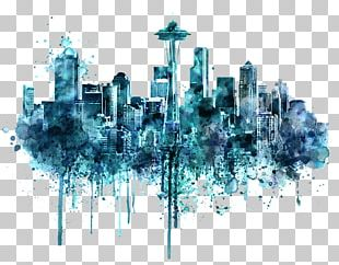 Seattle Watercolor Painting Skyline Drawing PNG