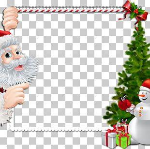 Chritstmas Frame Santa Claus Snowman PNG