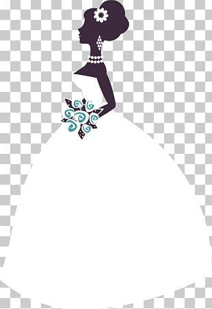 Bride Purple Flower Bouquet Illustration PNG