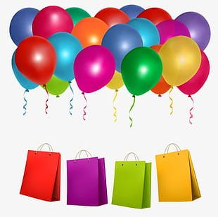 Balloon And Shopping Bags PNG