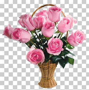 Rose Flower Bouquet Pink Basket PNG