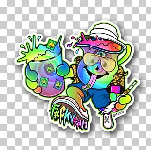 Sticker Bomb Cannabis Decal PNG