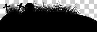 Painted Black Horror Halloween Cross PNG