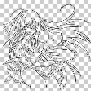 Rias Gremory Line Art Anime High School DxD PNG