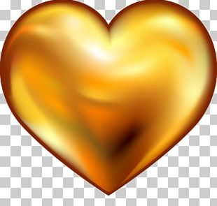 Gold Heart Valentine's Day PNG