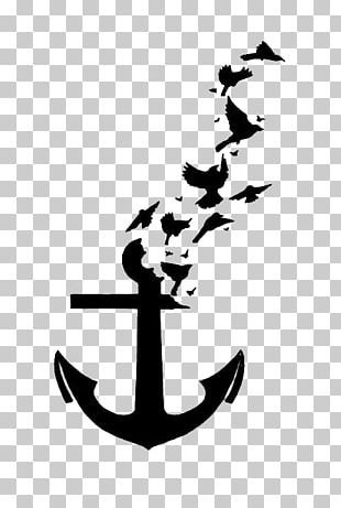 Bird Tattoo Anchor Wall Decal PNG