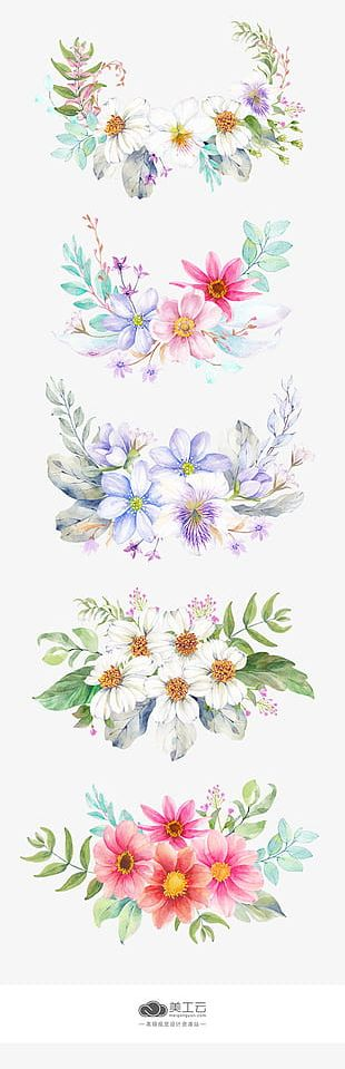 Hand-painted Flowers And Watercolor Decorative Material PNG