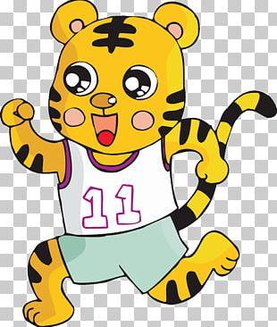 Running Tiger Cartoon Illustration PNG