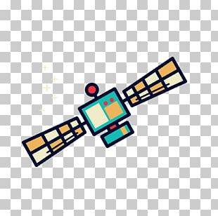 Outer Space Satellite Cartoon Illustration PNG