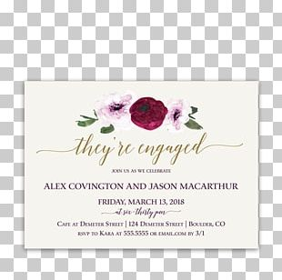 Wedding Invitation Flower Floral Design Engagement Party Purple PNG