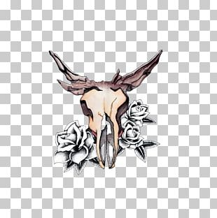 Deer Watercolor Painting Skull Drawing PNG