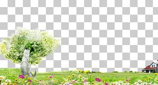 Trees And Flowers Green Grass Background Material PNG