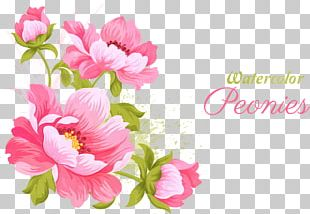 Pink Flowers Wedding Invitation Watercolor Painting PNG