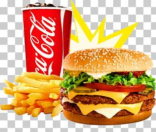 Hamburger Cheeseburger French Fries Fizzy Drinks Veggie Burger PNG