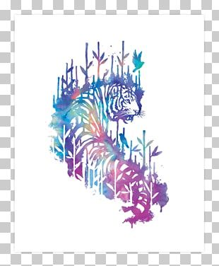 Tiger Illustration Watercolor Painting Art PNG