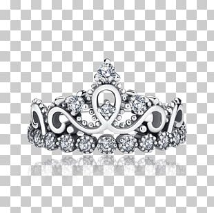 Princess Crown Ring Tiara Silver PNG