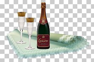Champagne Bottle Glass Love PNG