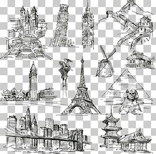 Statue Of Liberty Eiffel Tower Landmark Drawing PNG