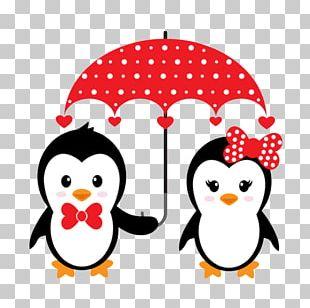 Penguin Cartoon Couple Illustration PNG