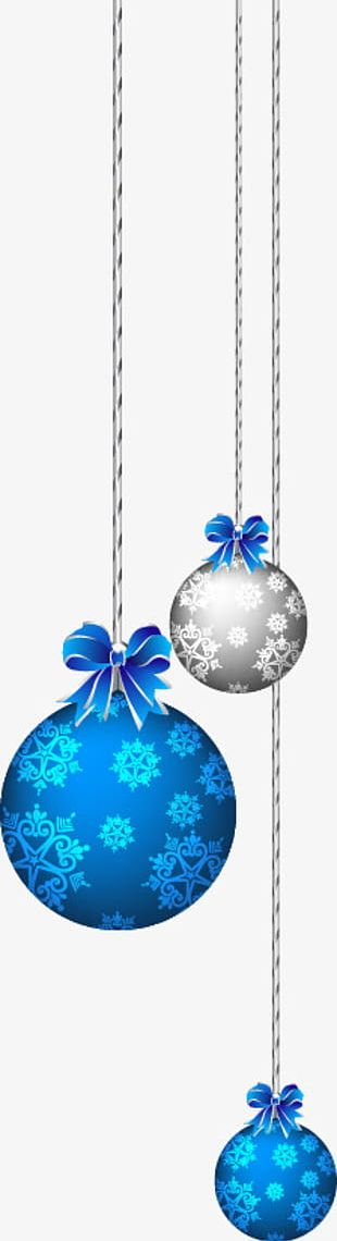 Hand-painted Blue Christmas Balls PNG