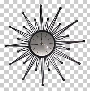 Sterling & Noble Wall Clock Mid-century Modern Retro Style Antique PNG