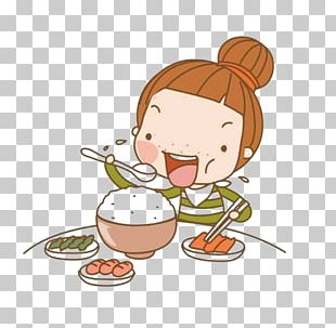 Eating Cartoon Girl PNG