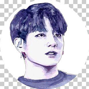 Watercolor Painting BTS Portrait Art PNG