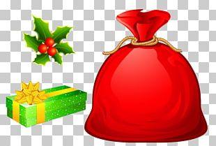 Santa Claus Christmas Gift Bag PNG