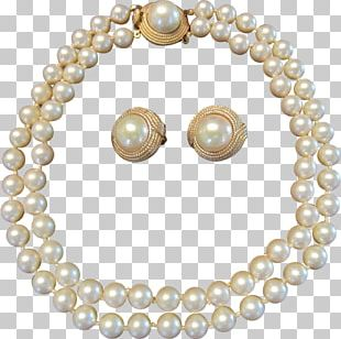 Imitation Pearl Earring Necklace Bead PNG