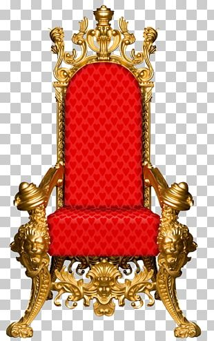 Throne Chair Red Gold Furniture PNG