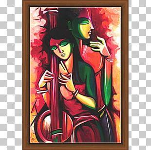 Krishna Vrindavan Modern Art Painting PNG
