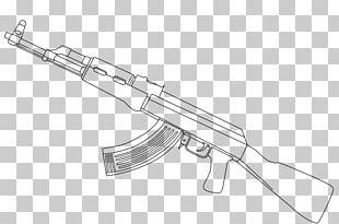 AK-47 Firearm Drawing Line Art Coloring Book PNG