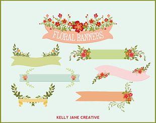 Wedding Invitation Paper Flower Banner PNG