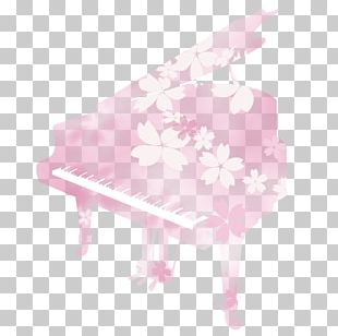 Cherry Blossom Piano Illustration. PNG
