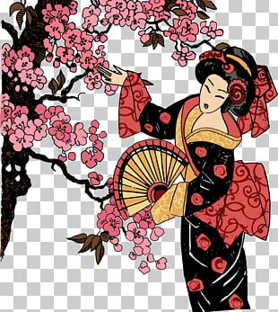 Japan Geisha T-shirt Graphic Design Illustration PNG