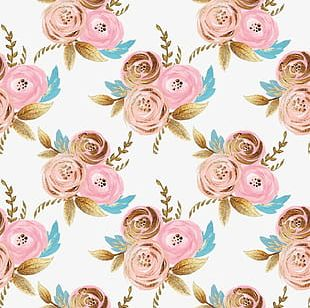 Gold Foil Pull Paint Flowers Free Background PNG