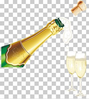 New Year Champagne With Glasses PNG