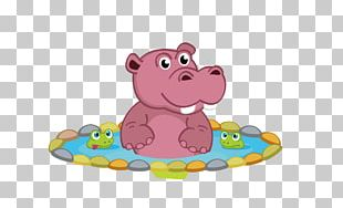 Hippopotamus Cartoon Illustration PNG