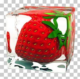 Ice Cube Juice Strawberry Italian Ice PNG