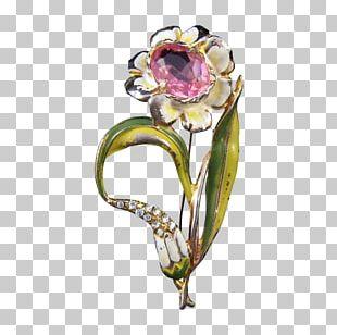 Floral Design Brooch Cut Flowers Vase PNG