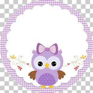 Little Owl Party Baby Shower Lilac PNG