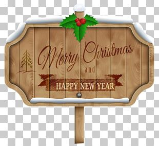 Merry Christmas Happy New Year Wood Sign PNG