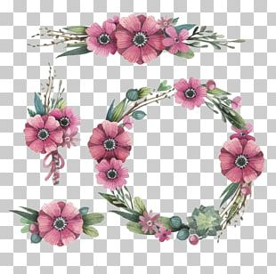 Watercolor: Flowers Wreath Crown PNG