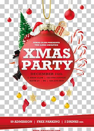 Christmas Poster Flyer Party Template PNG