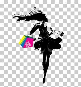 Shopping Silhouette Girl Illustration PNG