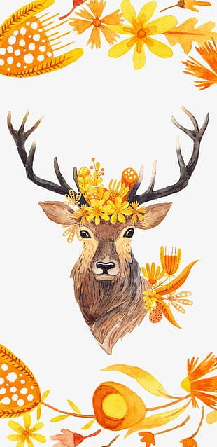 Autumn Hand-painted Watercolor Deer PNG