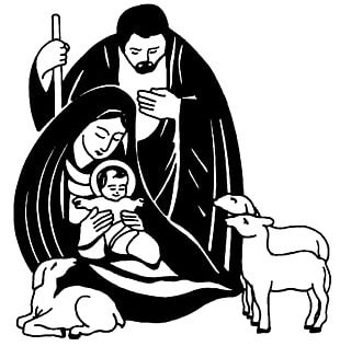 Nativity Scene Nativity Of Jesus Christmas Black And White PNG