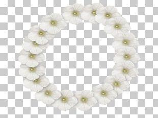 White Flower Frame Lei PNG