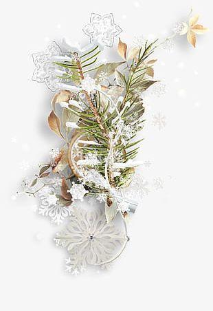 Snowflake Cookies Foliage Ribbons PNG