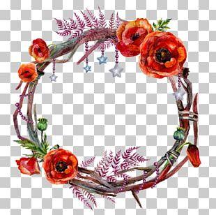 Wreath Flower Garland Poppy PNG